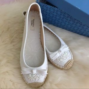 Vera Wang White Beaded Espadrilles Size 8